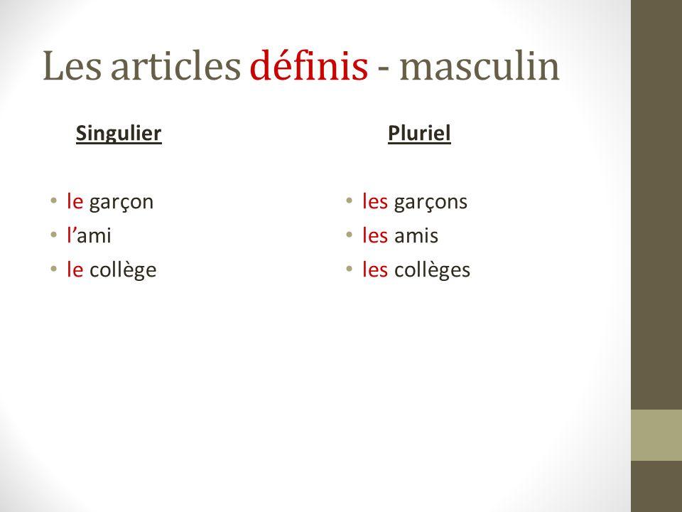 Les articles définis - masculin Singulier le garçon lami le collège Pluriel les garçons les amis les collèges