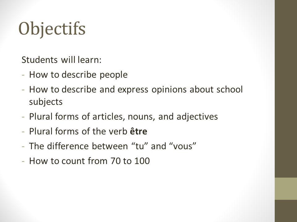 Le pluriel: articles, noms et adjectifs