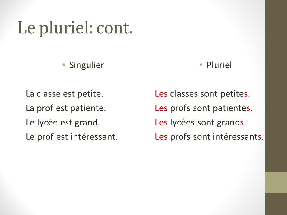 Le pluriel: cont. Singulier La classe est petite.