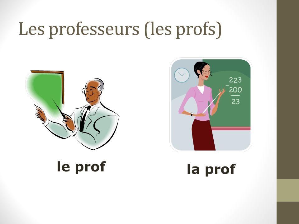 Les professeurs (les profs) le prof la prof