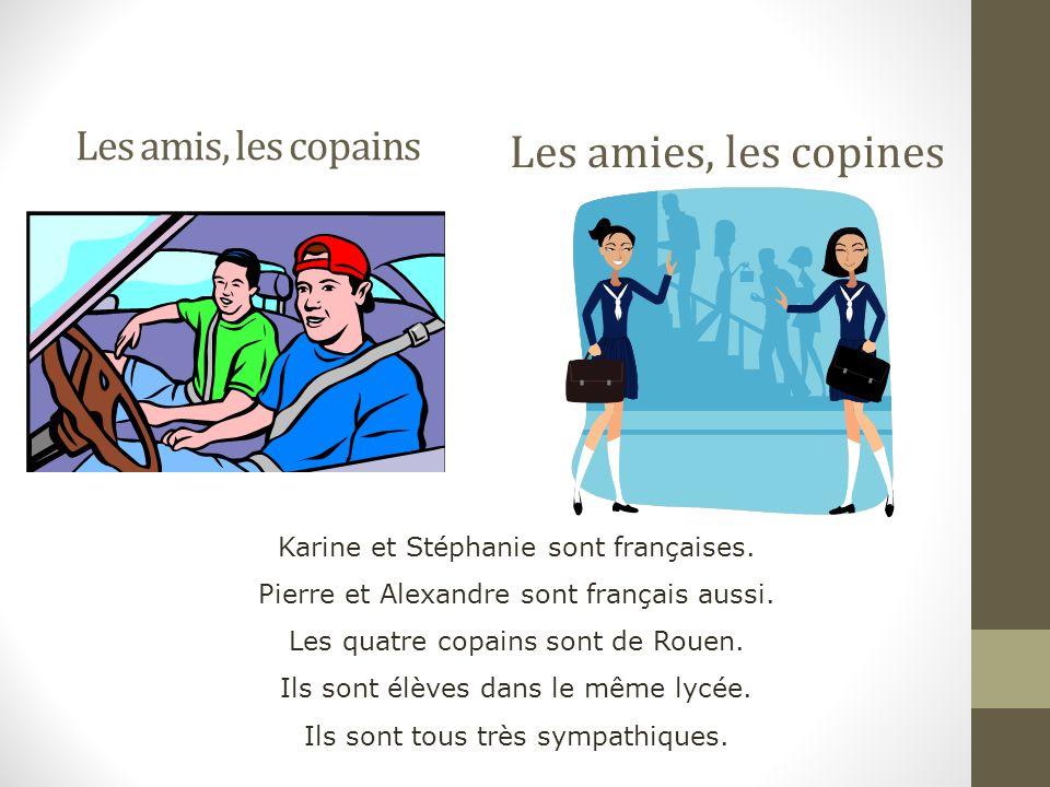 Les amis, les copains Les amies, les copines Karine et Stéphanie sont françaises.