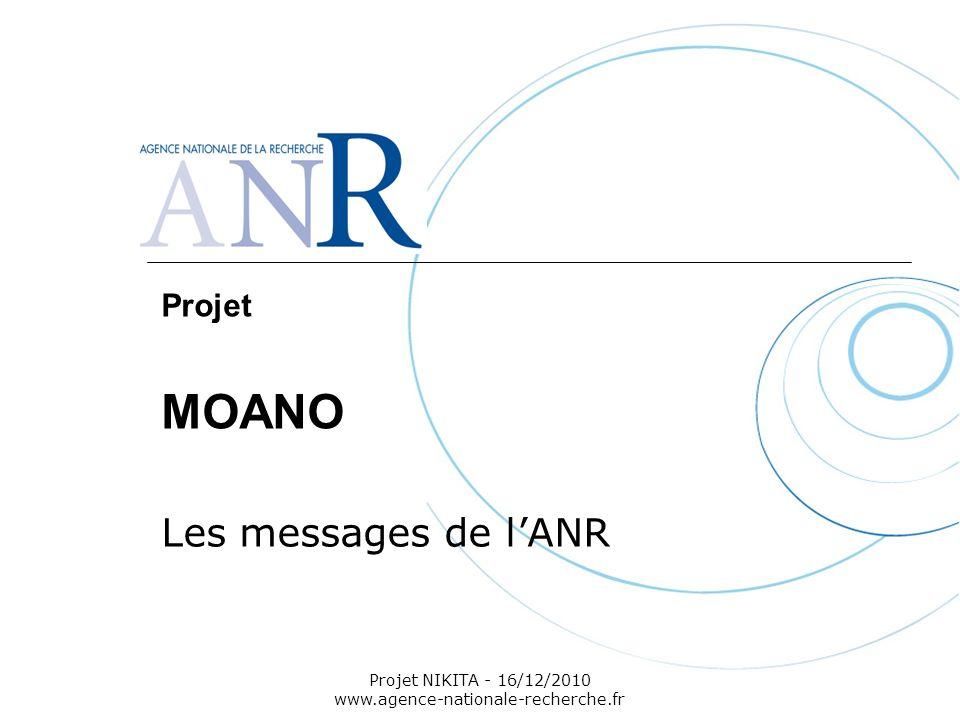 Projet NIKITA - 16/12/2010 www.agence-nationale-recherche.fr Projet MOANO Les messages de lANR
