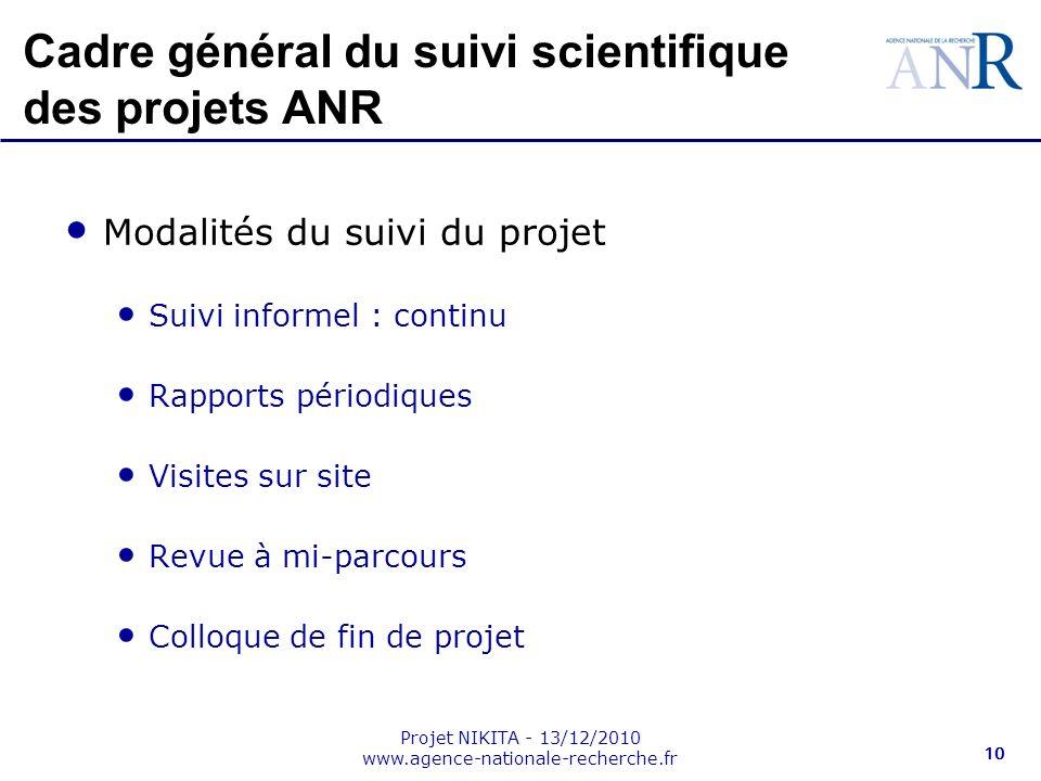 Projet NIKITA - 13/12/2010 www.agence-nationale-recherche.fr 10 Cadre général du suivi scientifique des projets ANR Modalités du suivi du projet Suivi