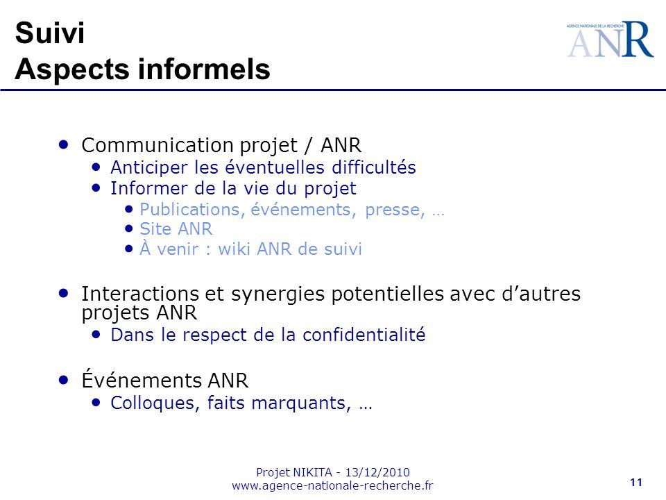 Projet NIKITA - 13/12/2010 www.agence-nationale-recherche.fr 11 Suivi Aspects informels Communication projet / ANR Anticiper les éventuelles difficult