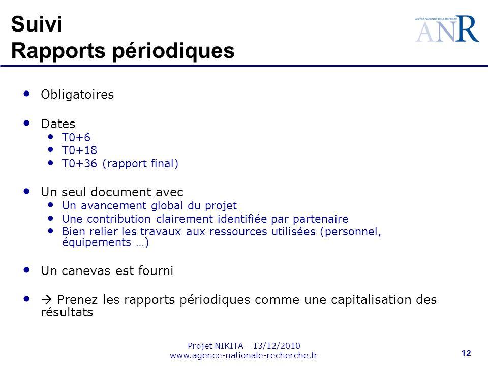 Projet NIKITA - 13/12/2010 www.agence-nationale-recherche.fr 12 Suivi Rapports périodiques Obligatoires Dates T0+6 T0+18 T0+36 (rapport final) Un seul
