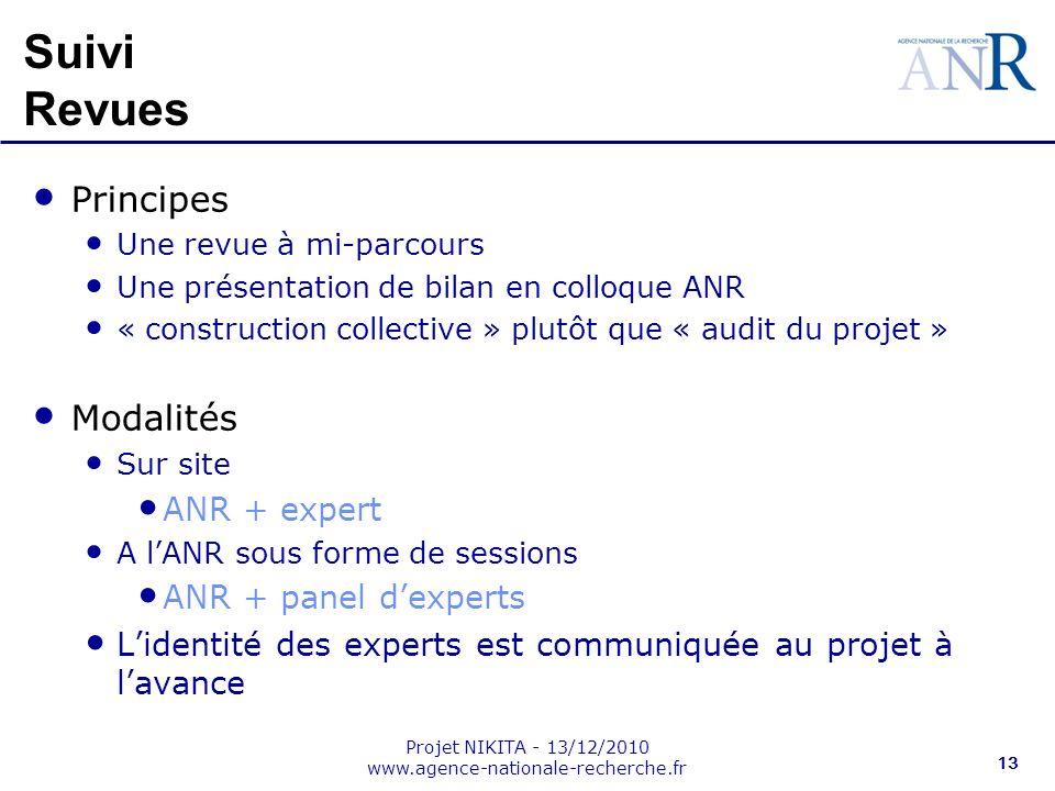 Projet NIKITA - 13/12/2010 www.agence-nationale-recherche.fr 13 Suivi Revues Principes Une revue à mi-parcours Une présentation de bilan en colloque A