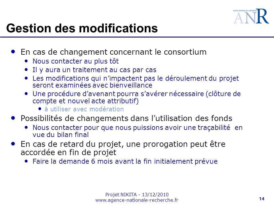 Projet NIKITA - 13/12/2010 www.agence-nationale-recherche.fr 14 En cas de changement concernant le consortium Nous contacter au plus tôt Il y aura un