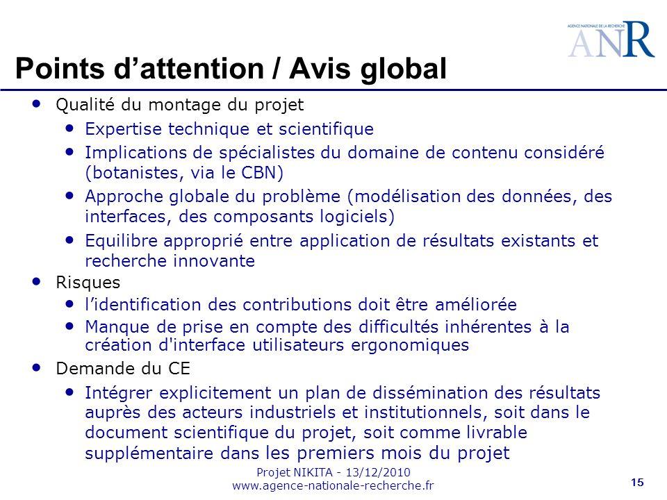Projet NIKITA - 13/12/2010 www.agence-nationale-recherche.fr 15 Points dattention / Avis global Qualité du montage du projet Expertise technique et sc