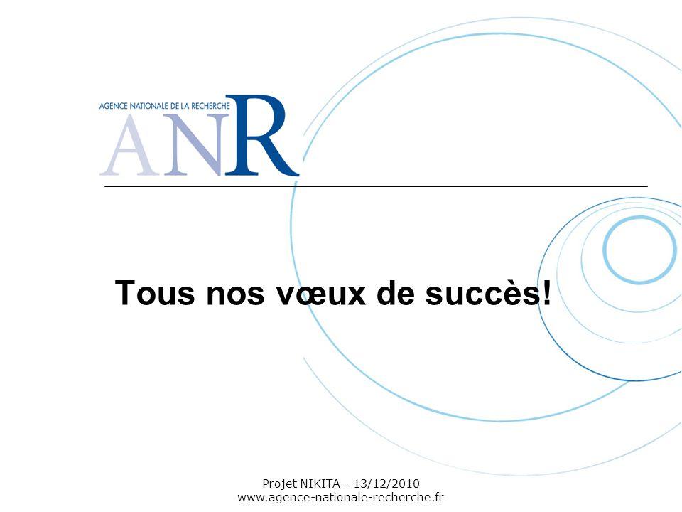 Projet NIKITA - 13/12/2010 www.agence-nationale-recherche.fr Tous nos vœux de succès!