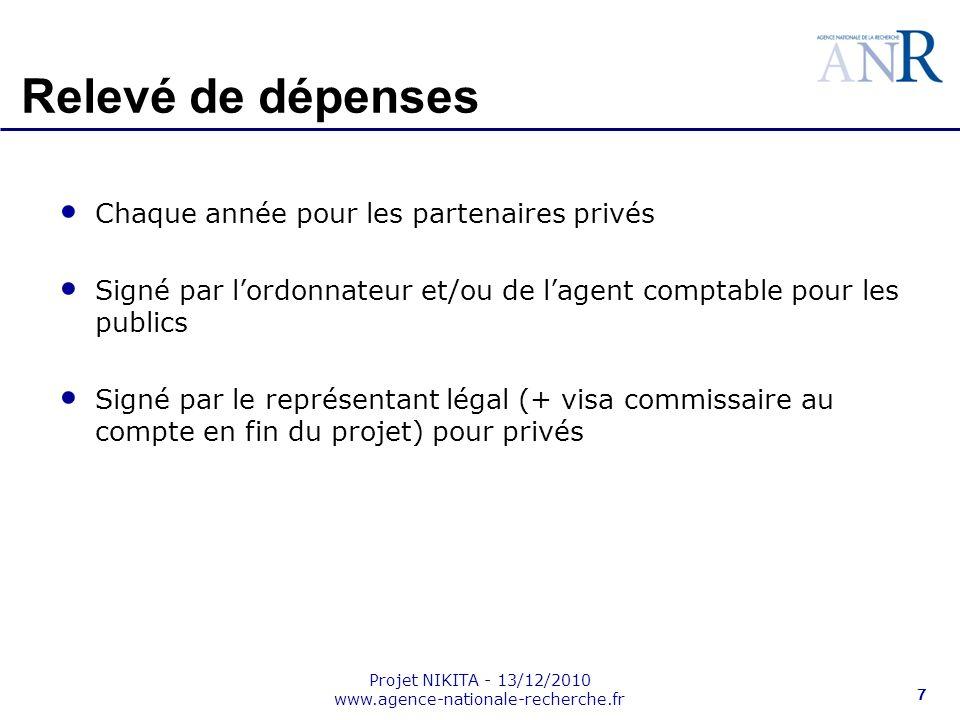 Projet NIKITA - 13/12/2010 www.agence-nationale-recherche.fr 7 Relevé de dépenses Chaque année pour les partenaires privés Signé par lordonnateur et/o