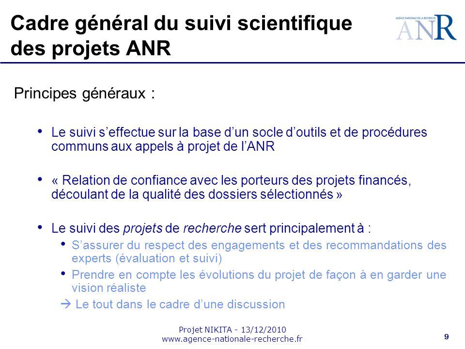 Projet NIKITA - 13/12/2010 www.agence-nationale-recherche.fr 9 Cadre général du suivi scientifique des projets ANR Principes généraux : Le suivi seffe