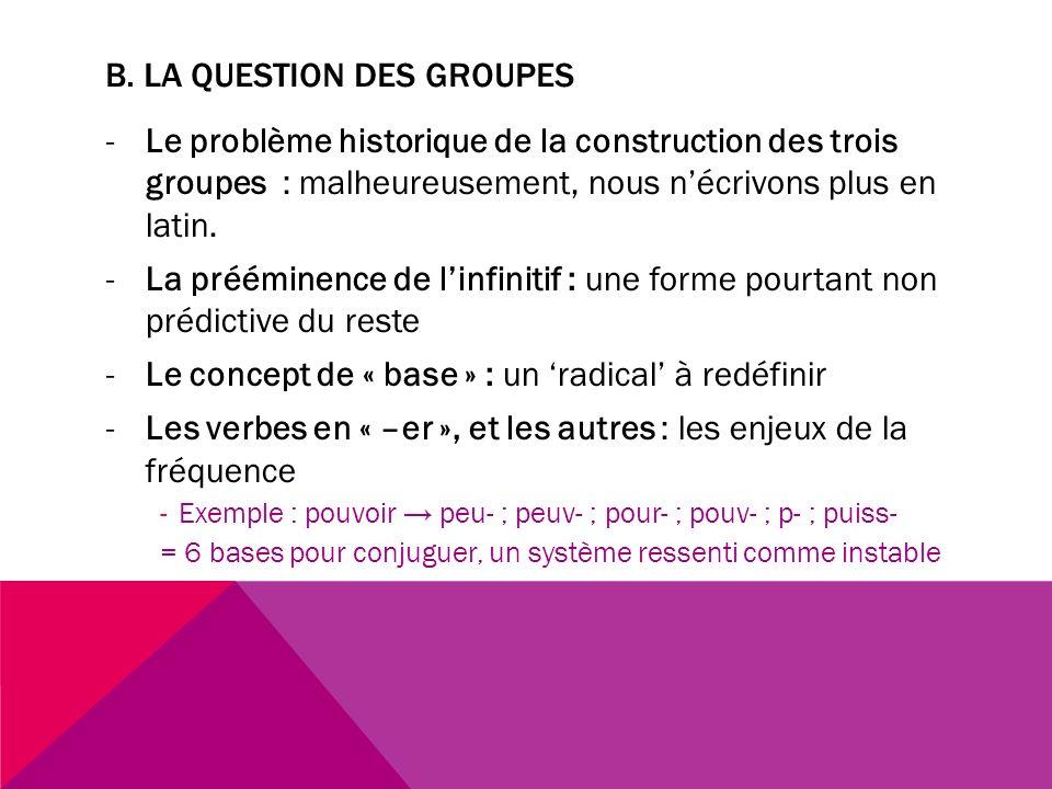 B. LA QUESTION DES GROUPES -Le problème historique de la construction des trois groupes : malheureusement, nous nécrivons plus en latin. -La prééminen