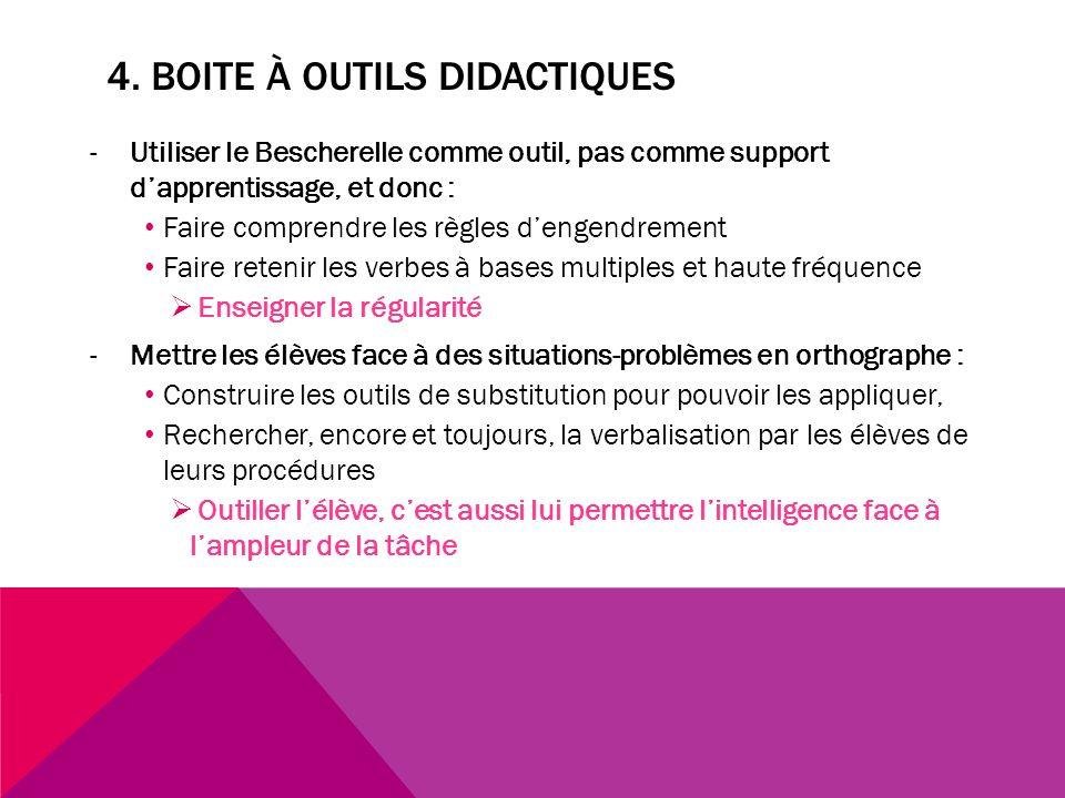 4. BOITE À OUTILS DIDACTIQUES -Utiliser le Bescherelle comme outil, pas comme support dapprentissage, et donc : Faire comprendre les règles dengendrem
