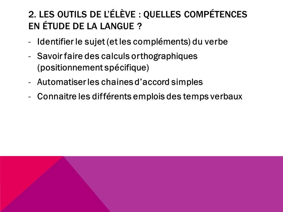 2. LES OUTILS DE LÉLÈVE : QUELLES COMPÉTENCES EN ÉTUDE DE LA LANGUE ? -Identifier le sujet (et les compléments) du verbe -Savoir faire des calculs ort