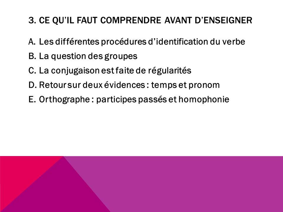 3. CE QUIL FAUT COMPRENDRE AVANT DENSEIGNER A.Les différentes procédures didentification du verbe B.La question des groupes C.La conjugaison est faite
