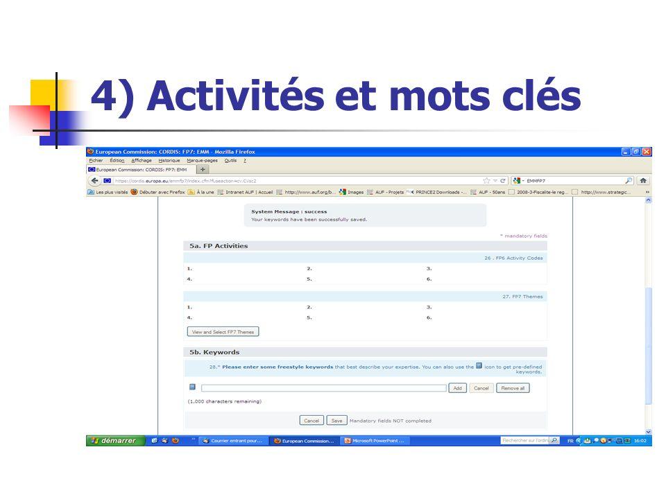 4) Activités et mots clés