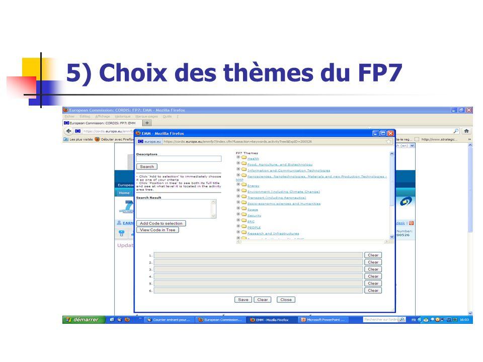 5) Choix des thèmes du FP7