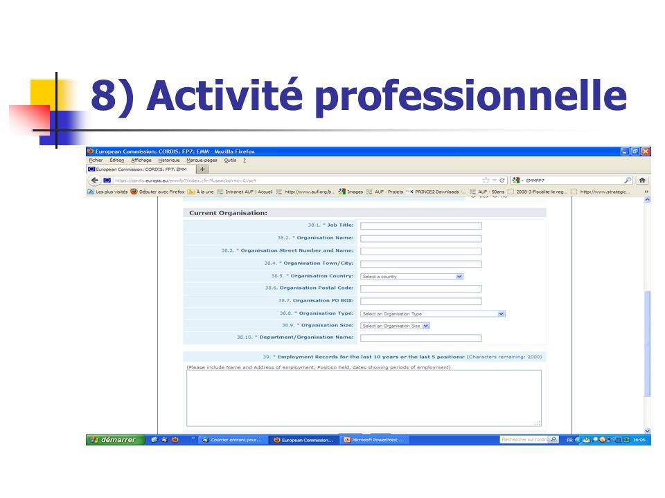 8) Activité professionnelle