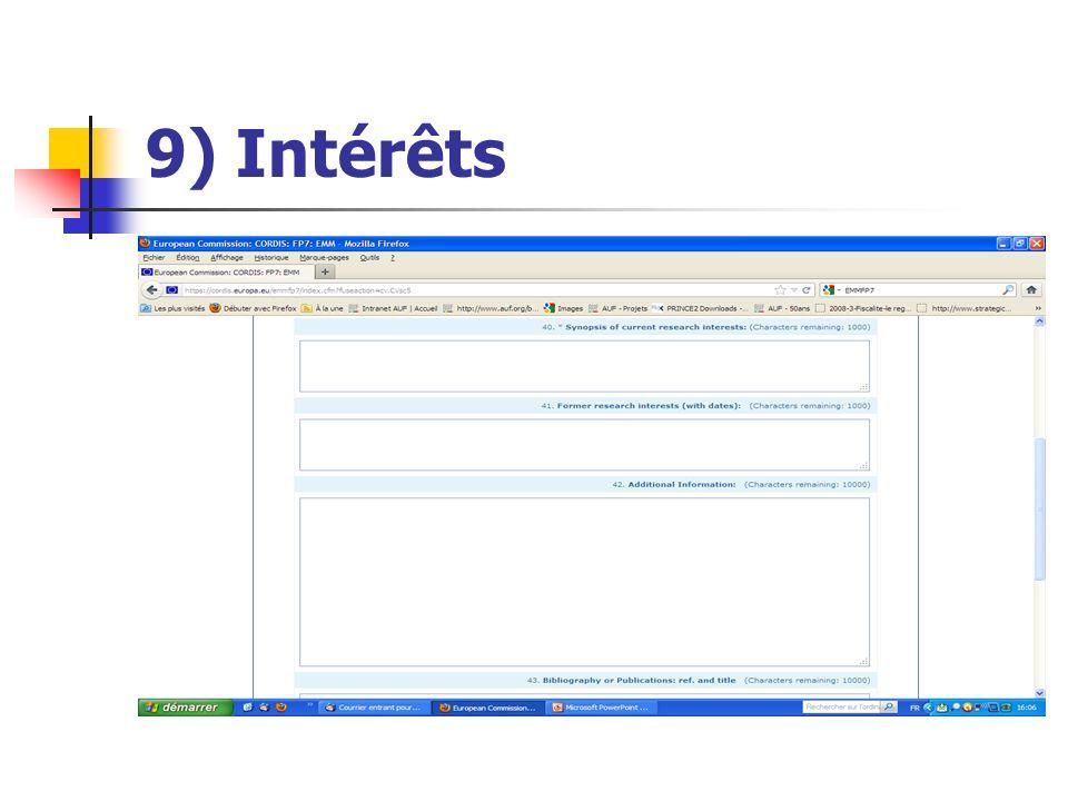 9) Intérêts