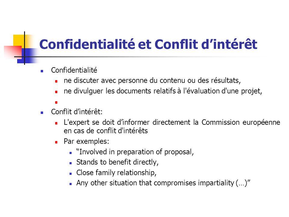 Confidentialité et Conflit dintérêt Confidentialité ne discuter avec personne du contenu ou des résultats, ne divulguer les documents relatifs à l'éva