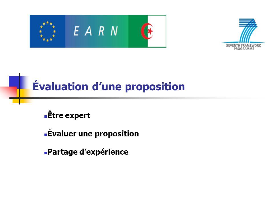 Évaluation dune proposition Être expert