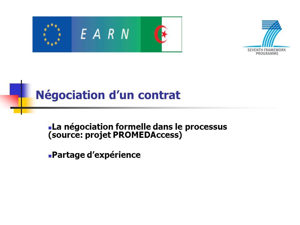 Négociation dun contrat La négociation formelle dans le processus (source: projet PROMEDAccess) Partage dexpérience