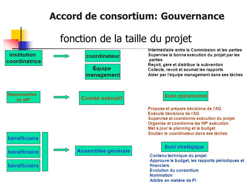 Accord de consortium: Gouvernance fonction de la taille du projet Institution coordinatrice bénéficiaire coordinateur Équipe management Comité exécuti