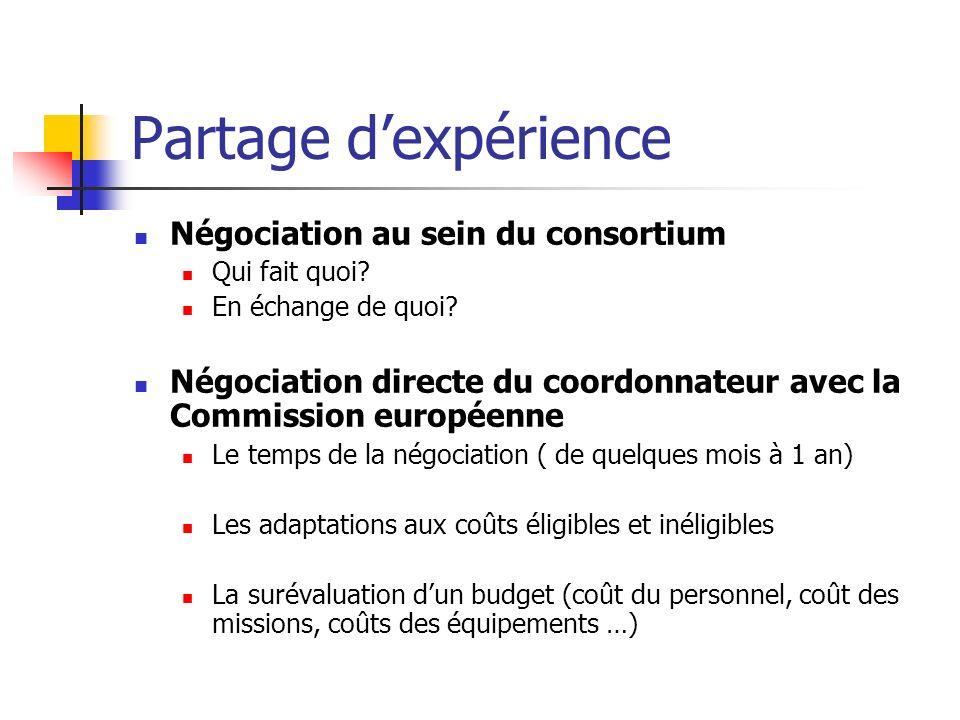 Partage dexpérience Négociation au sein du consortium Qui fait quoi? En échange de quoi? Négociation directe du coordonnateur avec la Commission europ