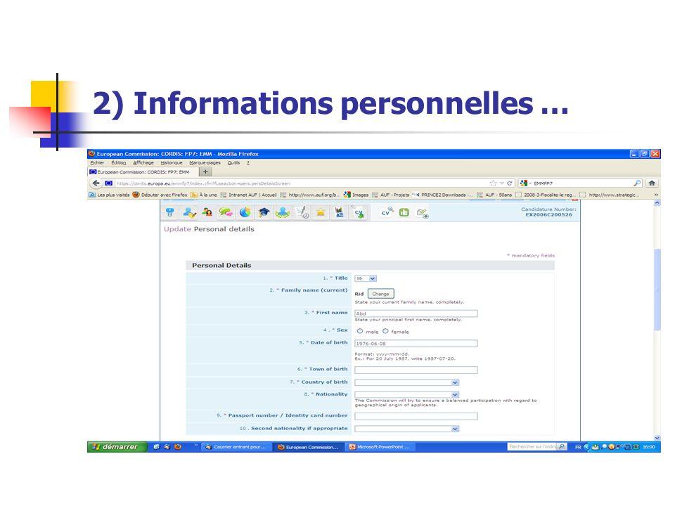 2) Informations personnelles …