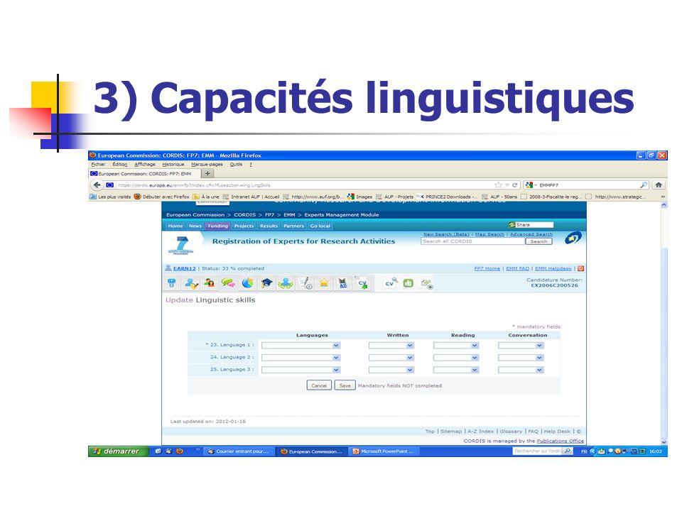 3) Capacités linguistiques