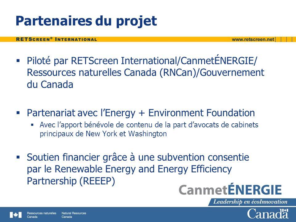 Partenaires du projet Piloté par RETScreen International/CanmetÉNERGIE/ Ressources naturelles Canada (RNCan)/Gouvernement du Canada Partenariat avec l