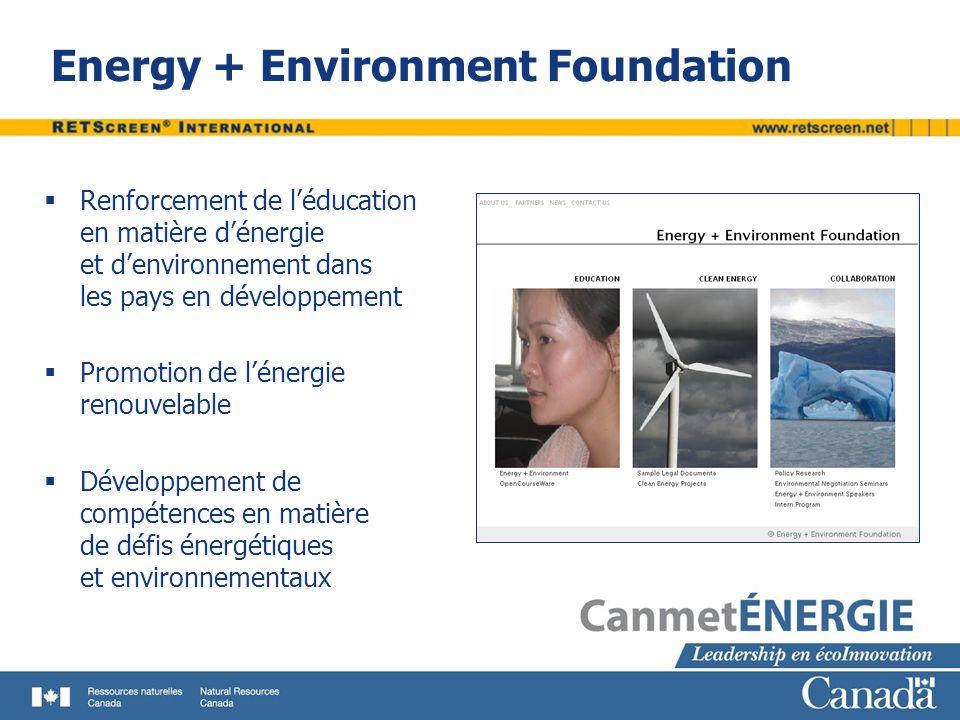 Energy + Environment Foundation Renforcement de léducation en matière dénergie et denvironnement dans les pays en développement Promotion de lénergie