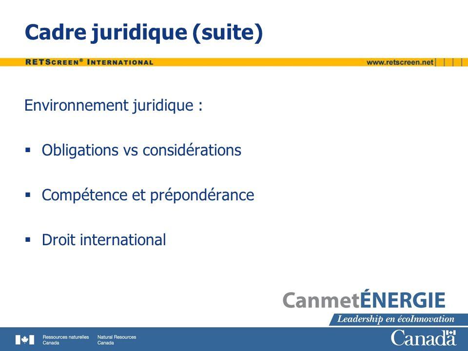 Cadre juridique (suite) Environnement juridique : Obligations vs considérations Compétence et prépondérance Droit international