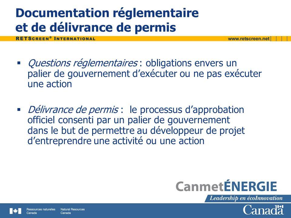 Documentation réglementaire et de délivrance de permis Questions réglementaires : obligations envers un palier de gouvernement dexécuter ou ne pas exé