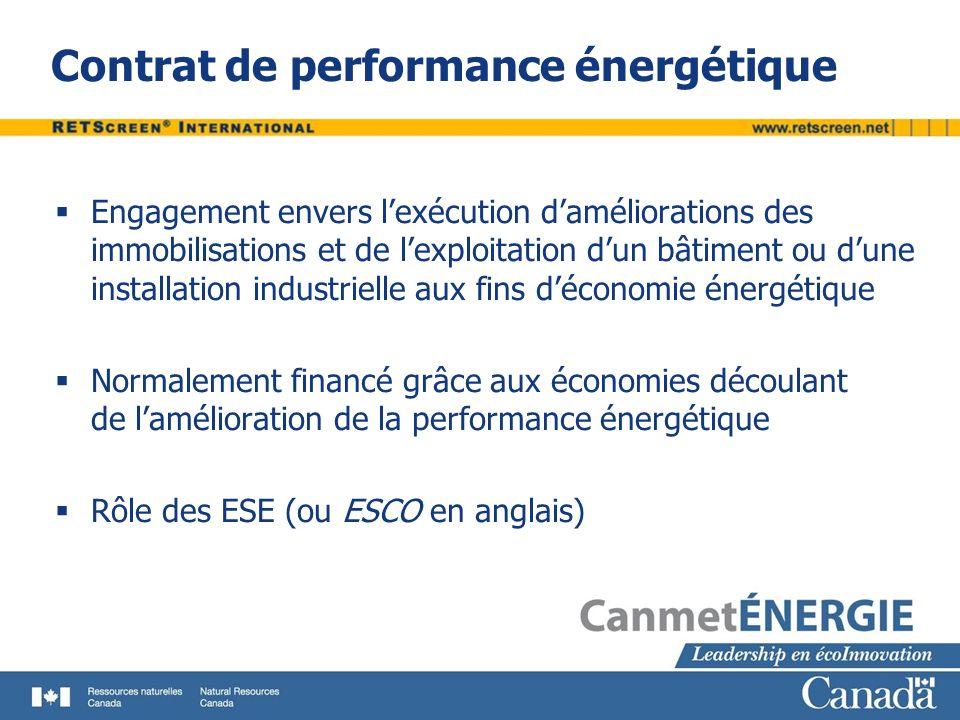 Contrat de performance énergétique Engagement envers lexécution daméliorations des immobilisations et de lexploitation dun bâtiment ou dune installati
