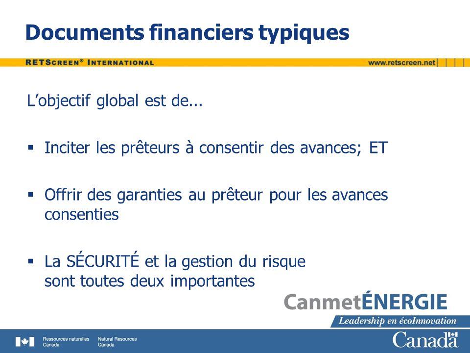 Documents financiers typiques Lobjectif global est de... Inciter les prêteurs à consentir des avances; ET Offrir des garanties au prêteur pour les ava