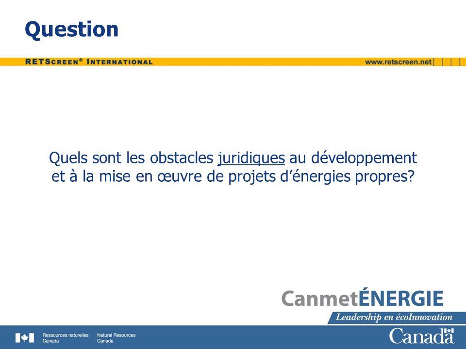 Obstacles juridiques Les documents juridiques pour un projet dénergie propre doivent être : Appropriés Exhaustifs Personnalisés Les coûts dun projet normal peuvent varier de dizaines à des centaines de milliers ou millions de dollars