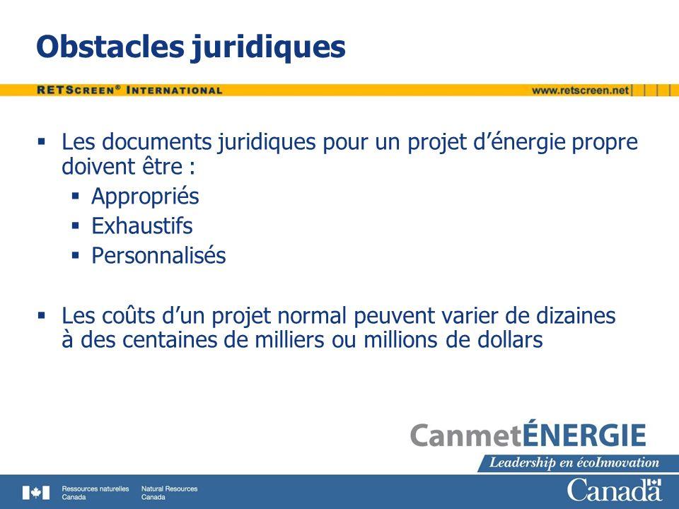 Obstacles juridiques Les documents juridiques pour un projet dénergie propre doivent être : Appropriés Exhaustifs Personnalisés Les coûts dun projet n