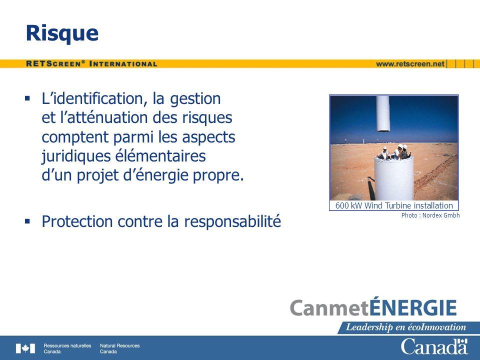 Risque Lidentification, la gestion et latténuation des risques comptent parmi les aspects juridiques élémentaires dun projet dénergie propre. Protecti