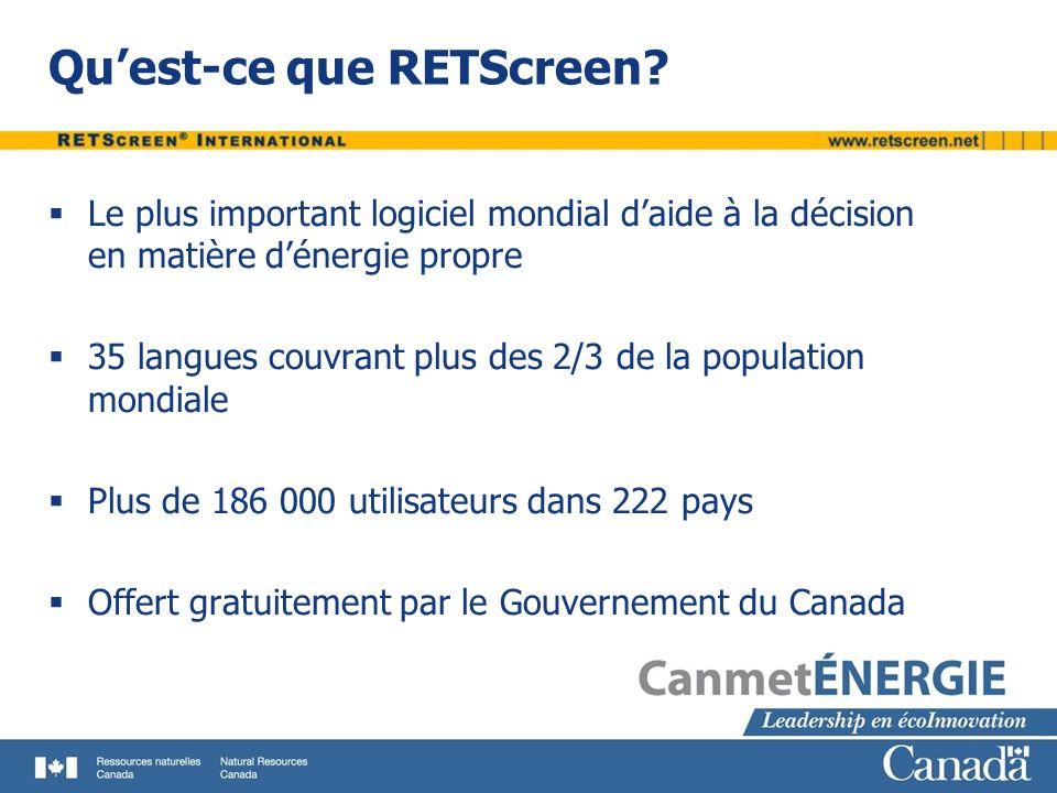 Quest-ce que RETScreen? Le plus important logiciel mondial daide à la décision en matière dénergie propre 35 langues couvrant plus des 2/3 de la popul