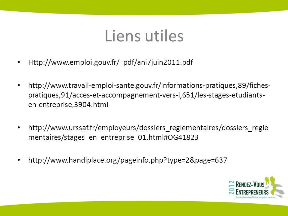 Liens utiles Http://www.emploi.gouv.fr/_pdf/ani7juin2011.pdf http://www.travail-emploi-sante.gouv.fr/informations-pratiques,89/fiches- pratiques,91/acces-et-accompagnement-vers-l,651/les-stages-etudiants- en-entreprise,3904.html http://www.urssaf.fr/employeurs/dossiers_reglementaires/dossiers_regle mentaires/stages_en_entreprise_01.html#OG41823 http://www.handiplace.org/pageinfo.php type=2&page=637