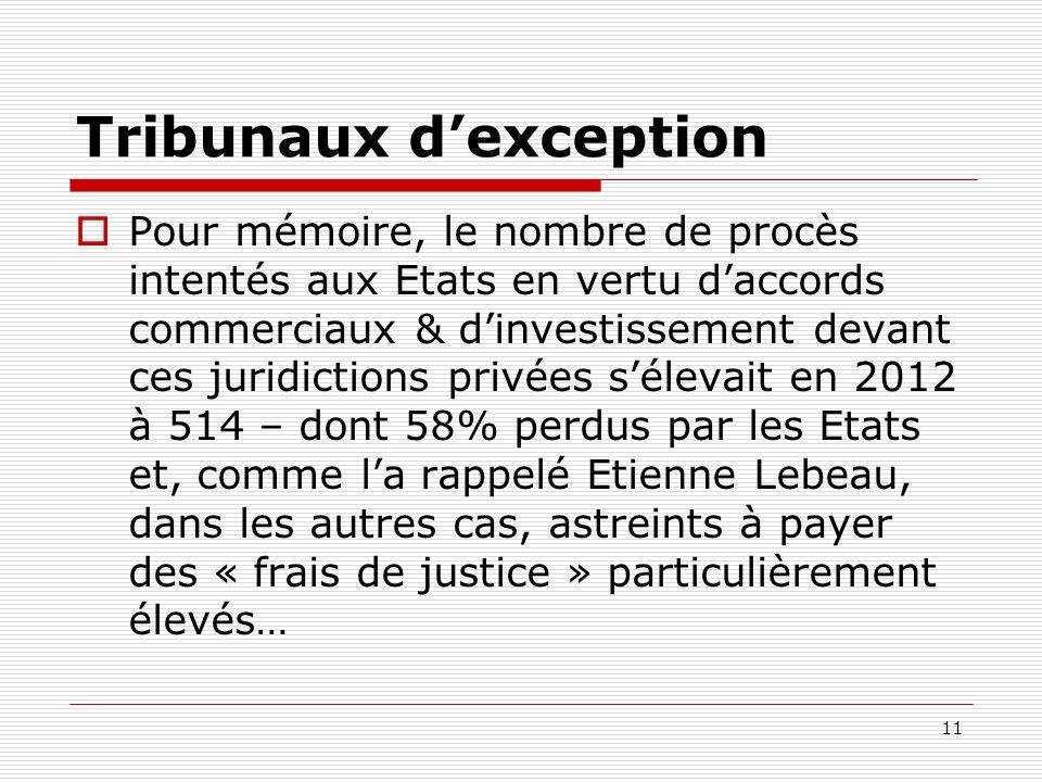 Tribunaux dexception Pour mémoire, le nombre de procès intentés aux Etats en vertu daccords commerciaux & dinvestissement devant ces juridictions priv