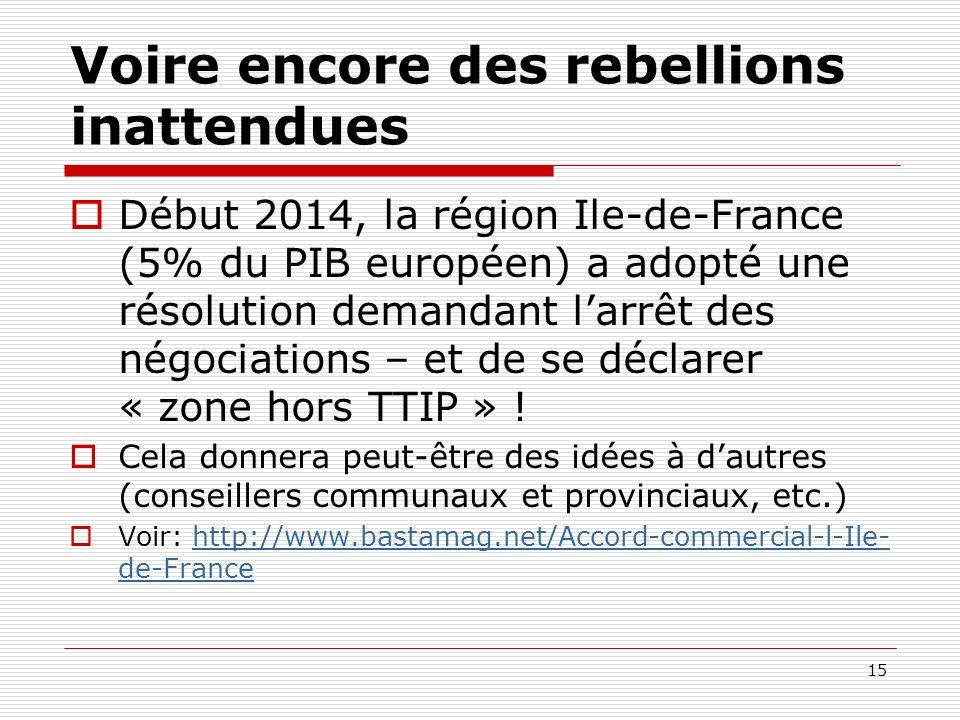Voire encore des rebellions inattendues Début 2014, la région Ile-de-France (5% du PIB européen) a adopté une résolution demandant larrêt des négociat