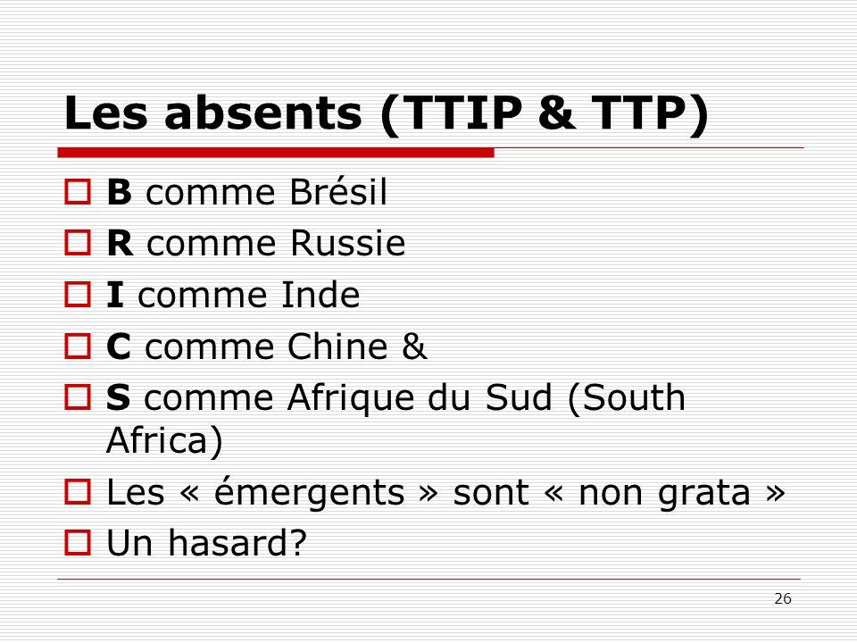 Les absents (TTIP & TTP) B comme Brésil R comme Russie I comme Inde C comme Chine & S comme Afrique du Sud (South Africa) Les « émergents » sont « non