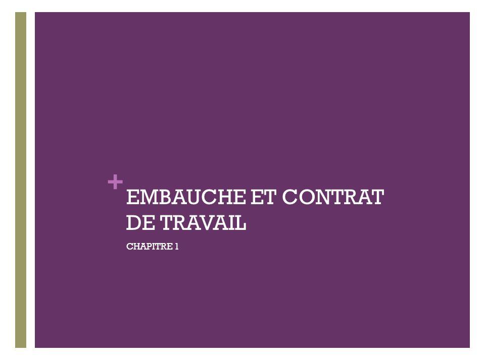 + EMBAUCHE ET CONTRAT DE TRAVAIL CHAPITRE 1