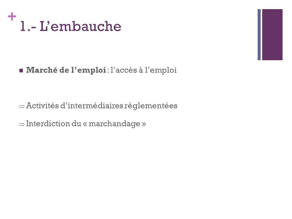 + 1.- Lembauche Marché de lemploi : laccès à lemploi Activités dintermédiaires règlementées Interdiction du « marchandage »