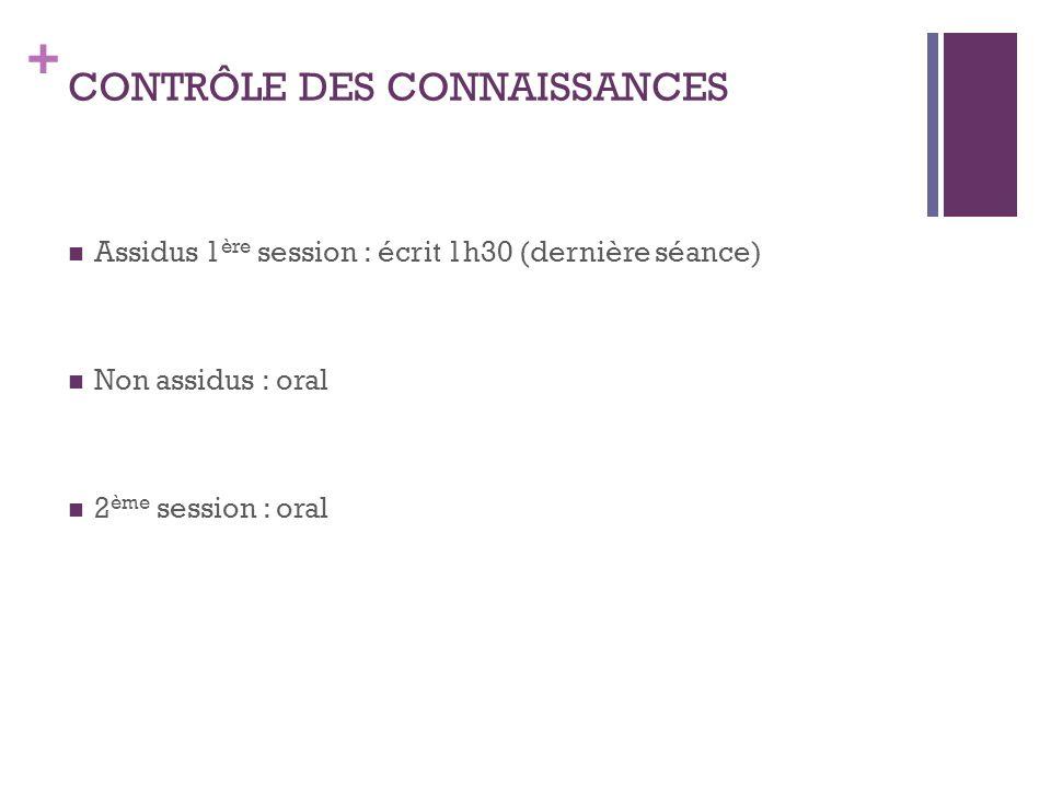 + CONTRÔLE DES CONNAISSANCES Assidus 1 ère session : écrit 1h30 (dernière séance) Non assidus : oral 2 ème session : oral