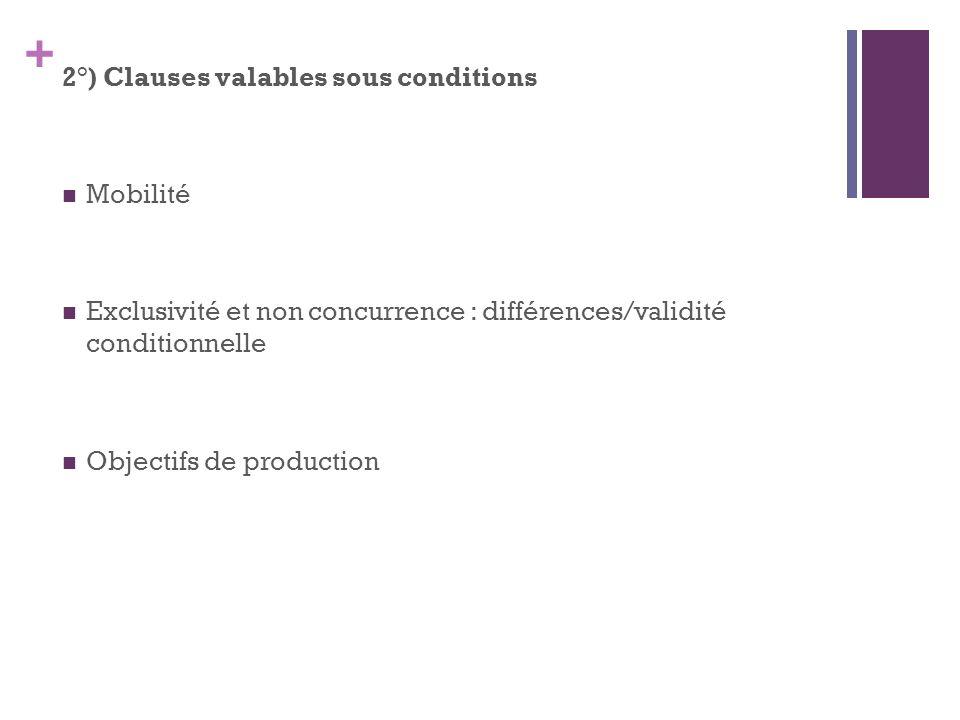 + 2°) Clauses valables sous conditions Mobilité Exclusivité et non concurrence : différences/validité conditionnelle Objectifs de production