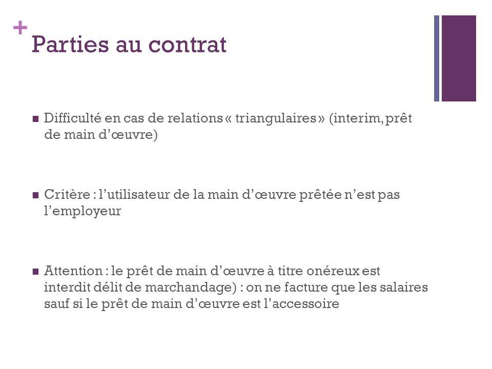 + Parties au contrat Difficulté en cas de relations « triangulaires » (interim, prêt de main dœuvre) Critère : lutilisateur de la main dœuvre prêtée n
