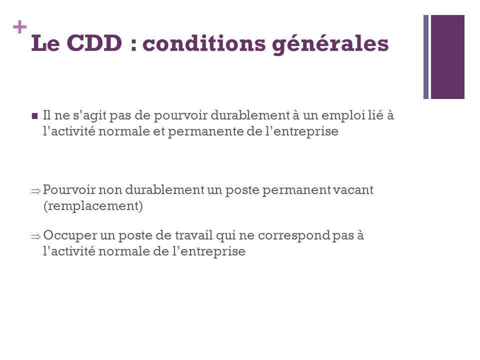 + Le CDD : conditions générales Il ne sagit pas de pourvoir durablement à un emploi lié à lactivité normale et permanente de lentreprise Pourvoir non